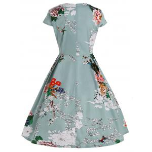 Plus Size Fit and Flare Floral Dress - LIGHT GREEN 3XL