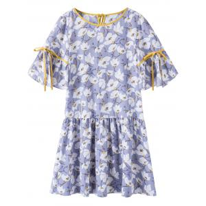 Flounce Hem Floral Plus Size Dress