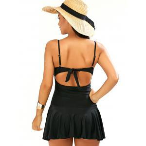 Strappy One Piece Dress Bathing Suit - BLACK XL