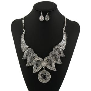 Rhinestone Circle Angel Wings Jewelry Set - Silver