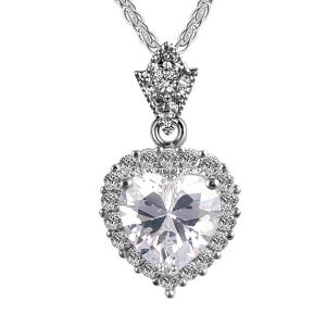 Artificial Diamond Gemstone Heart Pendant Necklace - White