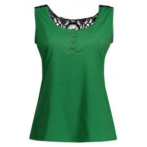 Lace Insert Tank Top with Buttons - GREEN XL