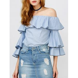 Ruffle Stripe Off The Shoulder Top