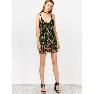 Floral Embroidered Mesh Overlay Bodycon Dress - BLACK S