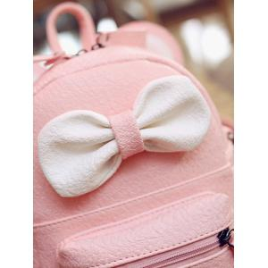 Bowknot Ear Faux Leather Backpack - PINK