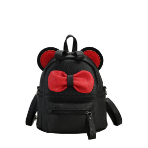 Bowknot Ear Faux Leather Backpack - Black - 2xl