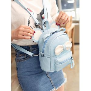 Bowknot Ear Faux Leather Backpack - LIGHT BLUE