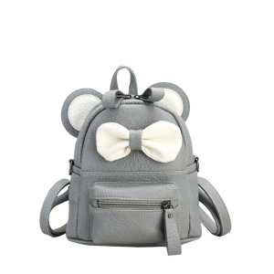 Bowknot Ear Faux Leather Backpack - Gray - S