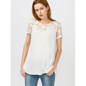 Lace Hollow Out Panel Criss Cross Flowy Blouse - WHITE M