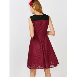 Short Lace Skater Formal Swing Cocktail Dress - WINE RED M