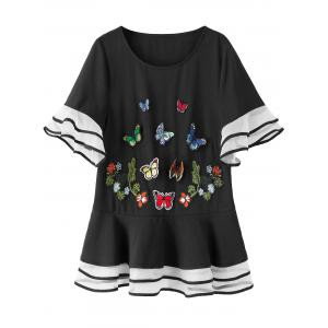 Butterfly Flare Sleeve Plus Size Top