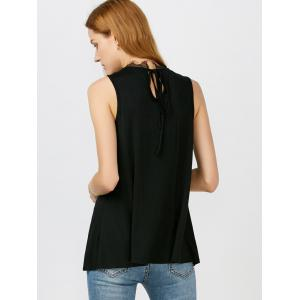 Lace Panel Tie Back Tank Top - BLACK M