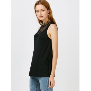Lace Panel Tie Back Tank Top - BLACK XL