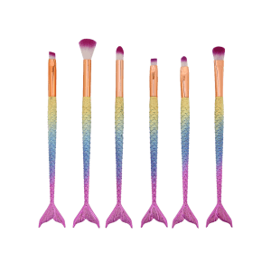 MAANGE 6 Pcs Mermaid Eye Makeup Brushes Set - COLORFUL