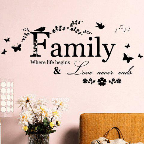 Shops Family Butterfly Quote Wall Stickers For Living Room - BLACK  Mobile