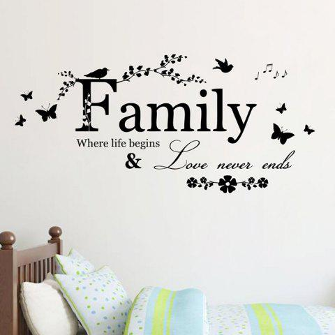 Sale Family Butterfly Quote Wall Stickers For Living Room - BLACK  Mobile