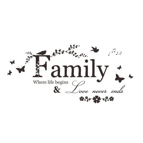 Online Family Butterfly Quote Wall Stickers For Living Room - BLACK  Mobile