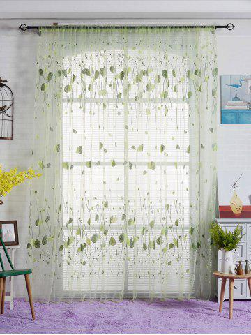 Buy Voile Fabric Leaf Transparent Window Curtain - W40INCH*L79INCH GREEN Mobile