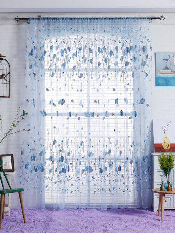 Voile Fabric Leaf Transparent Window Curtain - Blue - W40inch*l79inch