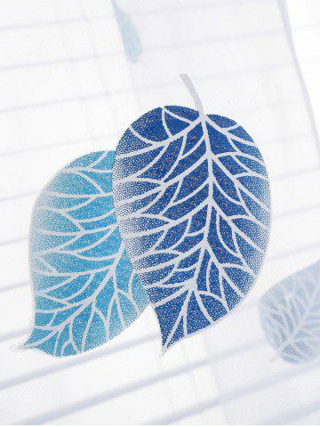 Buy Voile Fabric Leaf Transparent Window Curtain - W40INCH*L79INCH BLUE Mobile
