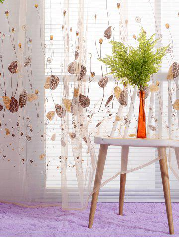Buy Voile Fabric Leaf Transparent Window Curtain - W40INCH*L79INCH KHAKI Mobile