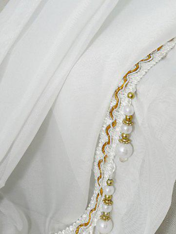 Buy Beads Pendant Transparent Voile Fabric Window Curtain - W40INCH*L79INCH WHITE Mobile