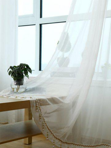 Chic Beads Pendant Transparent Voile Fabric Window Curtain - W40INCH*L79INCH WHITE Mobile