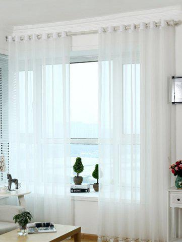 Sale Beads Pendant Transparent Voile Fabric Window Curtain - W40 INCH * L79 INCH WHITE Mobile