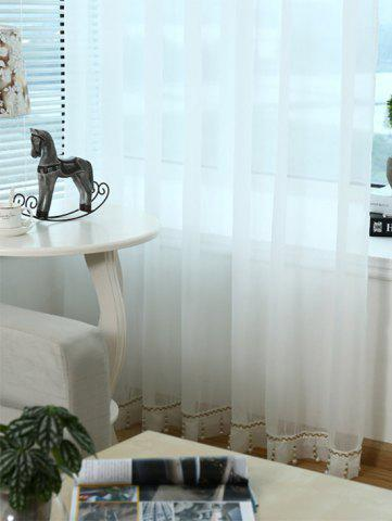 Discount Beads Pendant Transparent Voile Fabric Window Curtain - W40INCH*L79INCH WHITE Mobile
