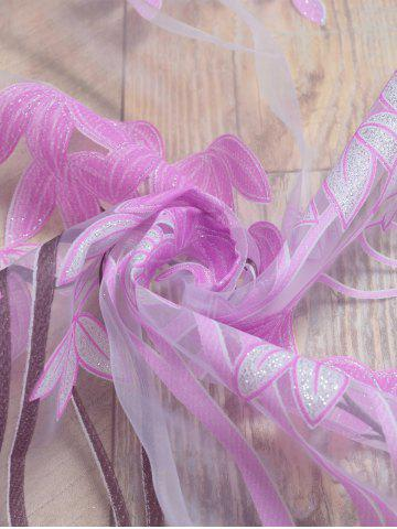 Buy Voile Fabric Maple Leaf Transparent Window Curtain - W40INCH*L79INCH PINKISH PURPLE Mobile