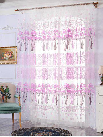 Affordable Voile Fabric Maple Leaf Transparent Window Curtain - W40INCH*L79INCH PINKISH PURPLE Mobile