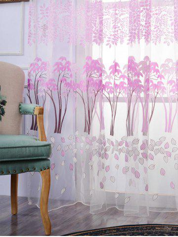 New Voile Fabric Maple Leaf Transparent Window Curtain - W40INCH*L79INCH PINKISH PURPLE Mobile