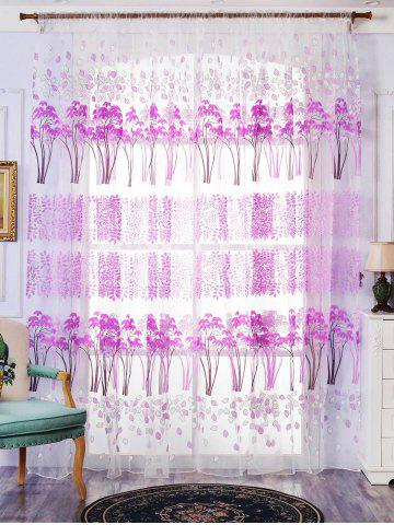 Affordable Voile Fabric Maple Leaf Transparent Window Curtain