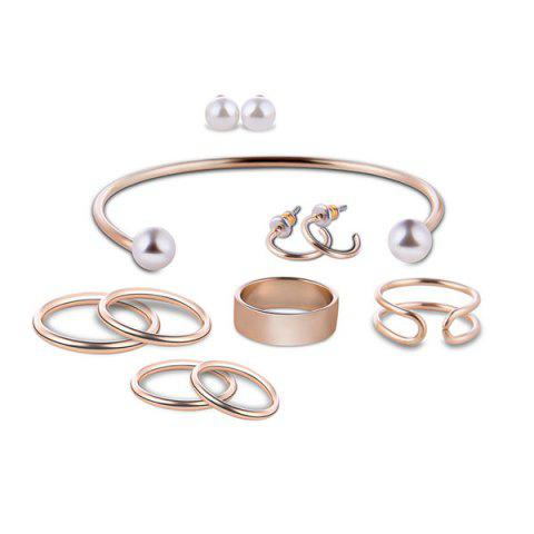 Chic Artificial Pearl Circle Jewelry Set - GOLDEN  Mobile