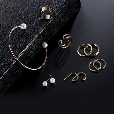 Outfits Artificial Pearl Circle Jewelry Set - GOLDEN  Mobile