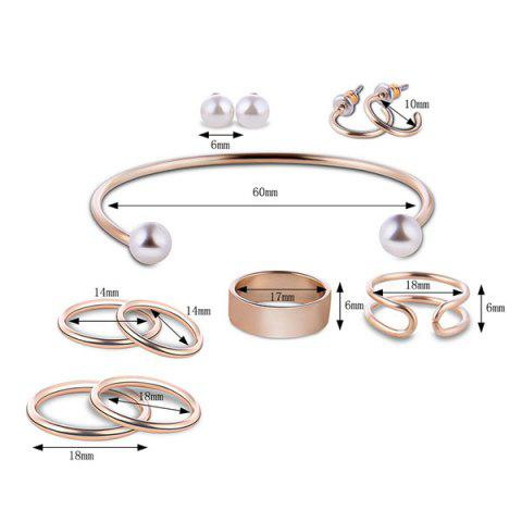 Shops Artificial Pearl Circle Jewelry Set - GOLDEN  Mobile