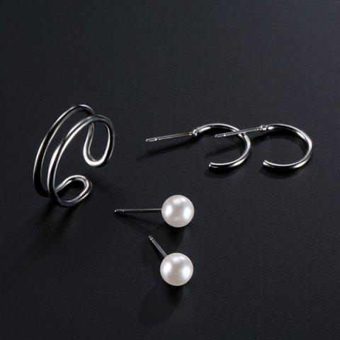 Shops Artificial Pearl Circle Jewelry Set - SILVER  Mobile