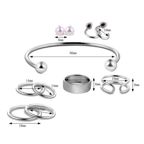 Sale Artificial Pearl Circle Jewelry Set - SILVER  Mobile
