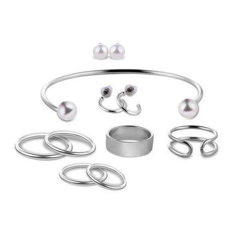 Discount Artificial Pearl Circle Jewelry Set - SILVER  Mobile