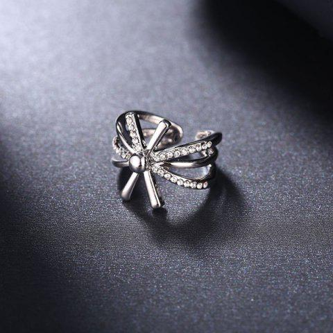 Sale Rhinestoned Floral Cuff Ring - 8 SILVER Mobile