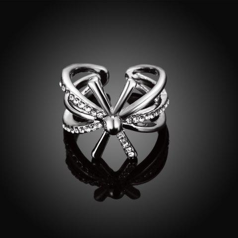 Shops Rhinestoned Floral Cuff Ring - 8 SILVER Mobile