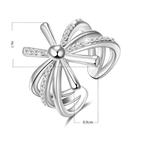 Discount Rhinestoned Floral Cuff Ring - 8 SILVER Mobile