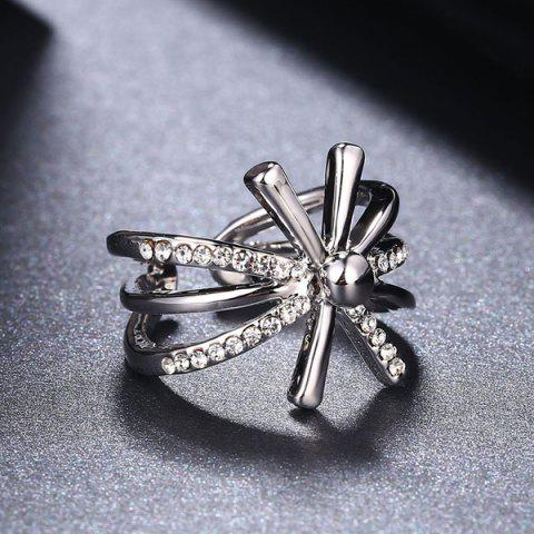 Online Rhinestoned Floral Cuff Ring - 8 SILVER Mobile