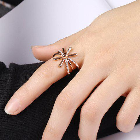 Shops Rhinestoned Floral Cuff Ring - 6 ROSE GOLD Mobile