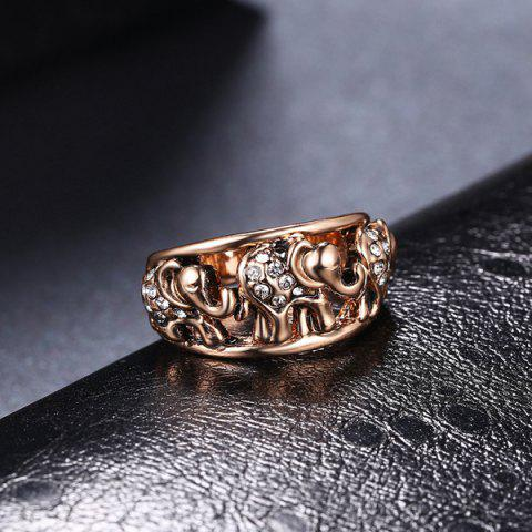 Outfit Cute Rhinestone Circle Elephant Finger Ring - 6 ROSE GOLD Mobile
