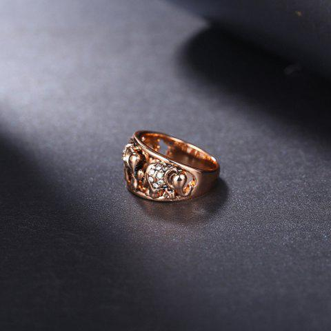Shops Cute Rhinestone Circle Elephant Finger Ring - 6 ROSE GOLD Mobile