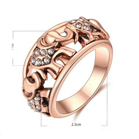 Store Cute Rhinestone Circle Elephant Finger Ring - 6 ROSE GOLD Mobile
