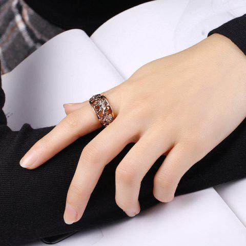 Chic Cute Rhinestone Circle Elephant Finger Ring - 6 ROSE GOLD Mobile