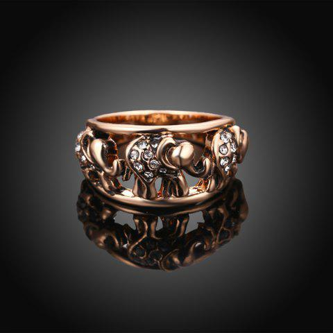 Outfit Cute Rhinestone Circle Elephant Finger Ring - 8 ROSE GOLD Mobile