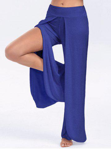 Buy High Split Wide Leg Flowy Pants - Blue XL